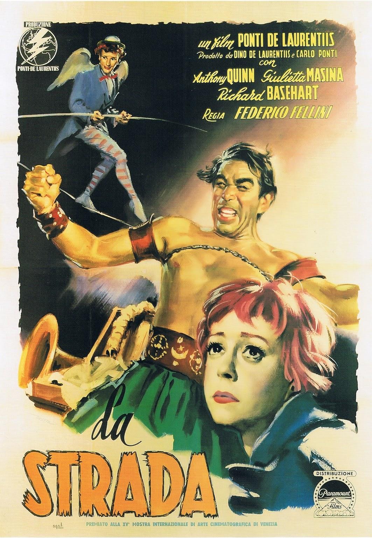 Anthony Quinn, Richard Basehart, and Giulietta Masina in La strada (1954)