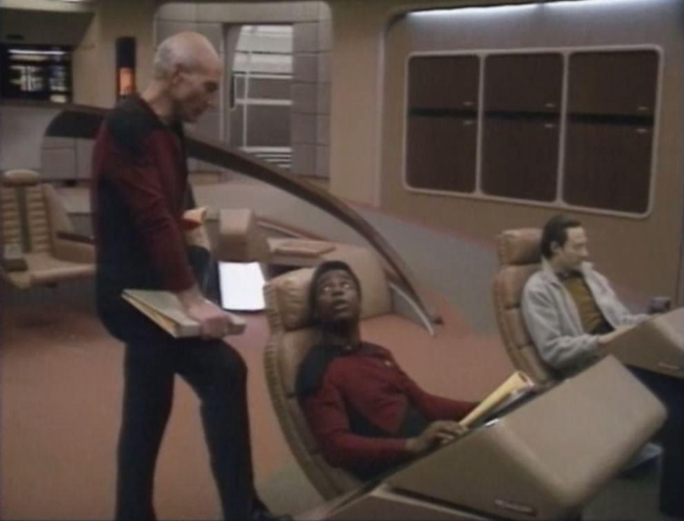 Brent Spiner, LeVar Burton, and Patrick Stewart in Star Trek: The Next Generation (1987)