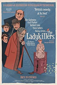 Alec Guinness, Peter Sellers, Herbert Lom, Danny Green, Katie Johnson, Cecil Parker, and Jack Warner in The Ladykillers (1955)