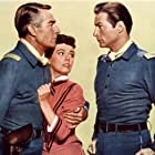Randolph Scott, Lex Barker, and Phyllis Kirk in Thunder Over the Plains (1953)