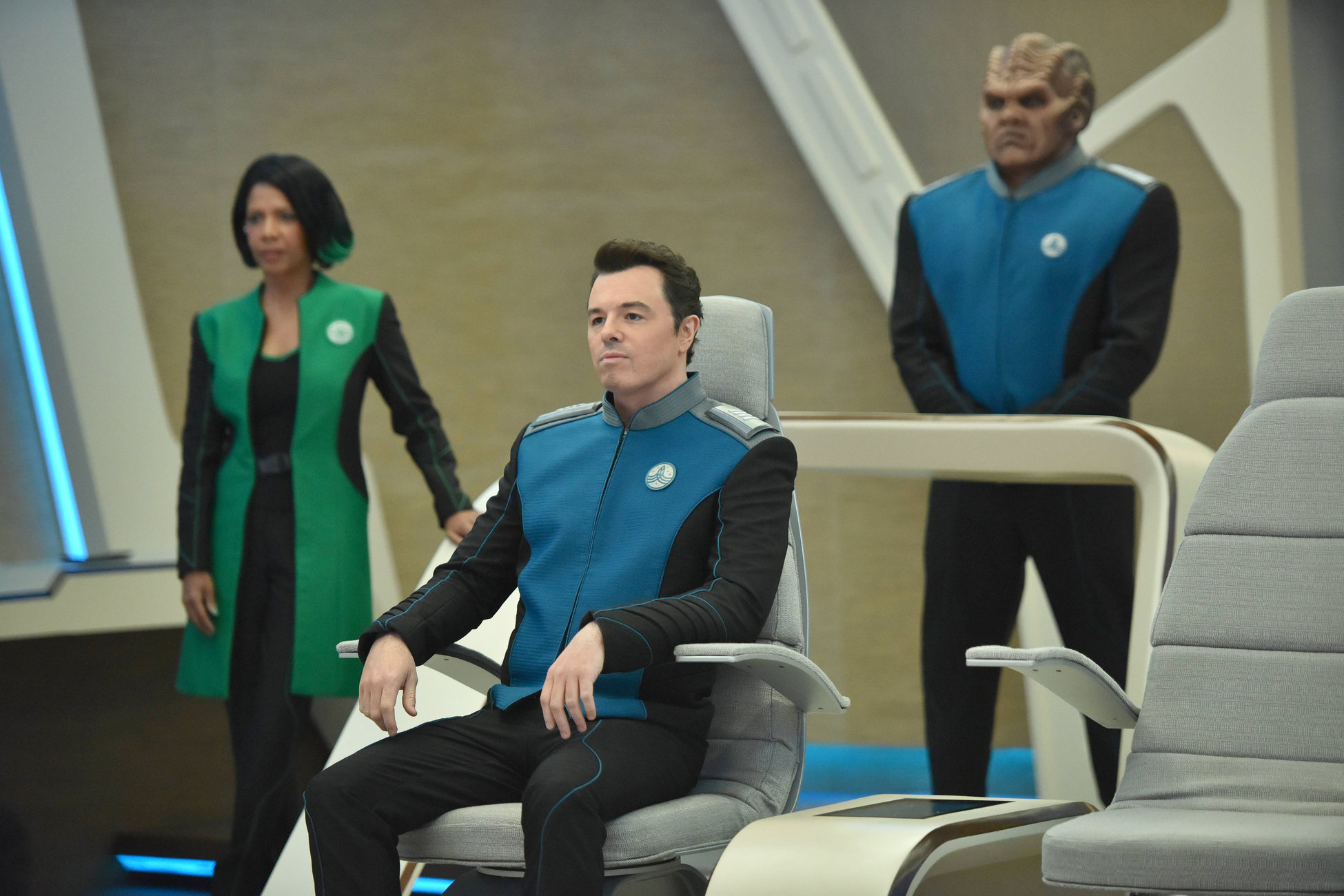 Penny Johnson Jerald, Seth MacFarlane, and Peter Macon in The Orville (2017)