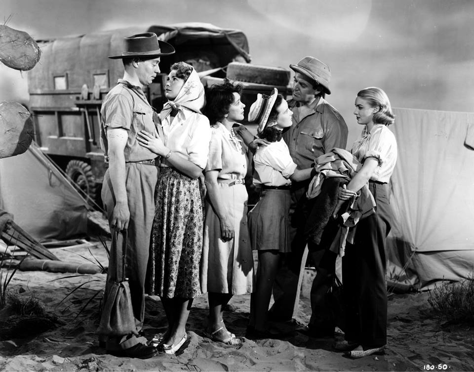 Petula Clark, Jimmy Hanley, Kathleen Harrison, Susan Shaw, Dinah Sheridan, and Jack Warner in The Huggetts Abroad (1949)