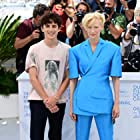 Tilda Swinton and Timothée Chalamet at an event for The French Dispatch (2021)