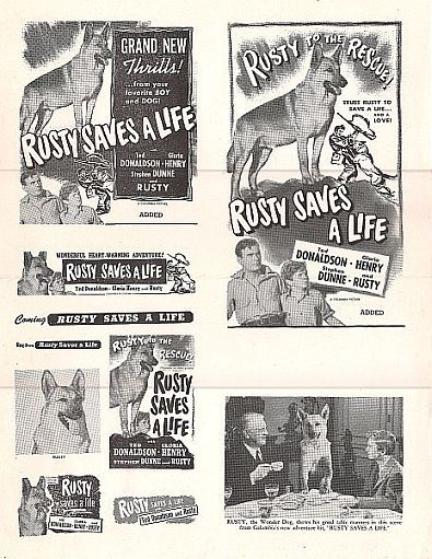 Ted Donaldson, Stephen Dunne, Thurston Hall, and Flame in Rusty Saves a Life (1949)