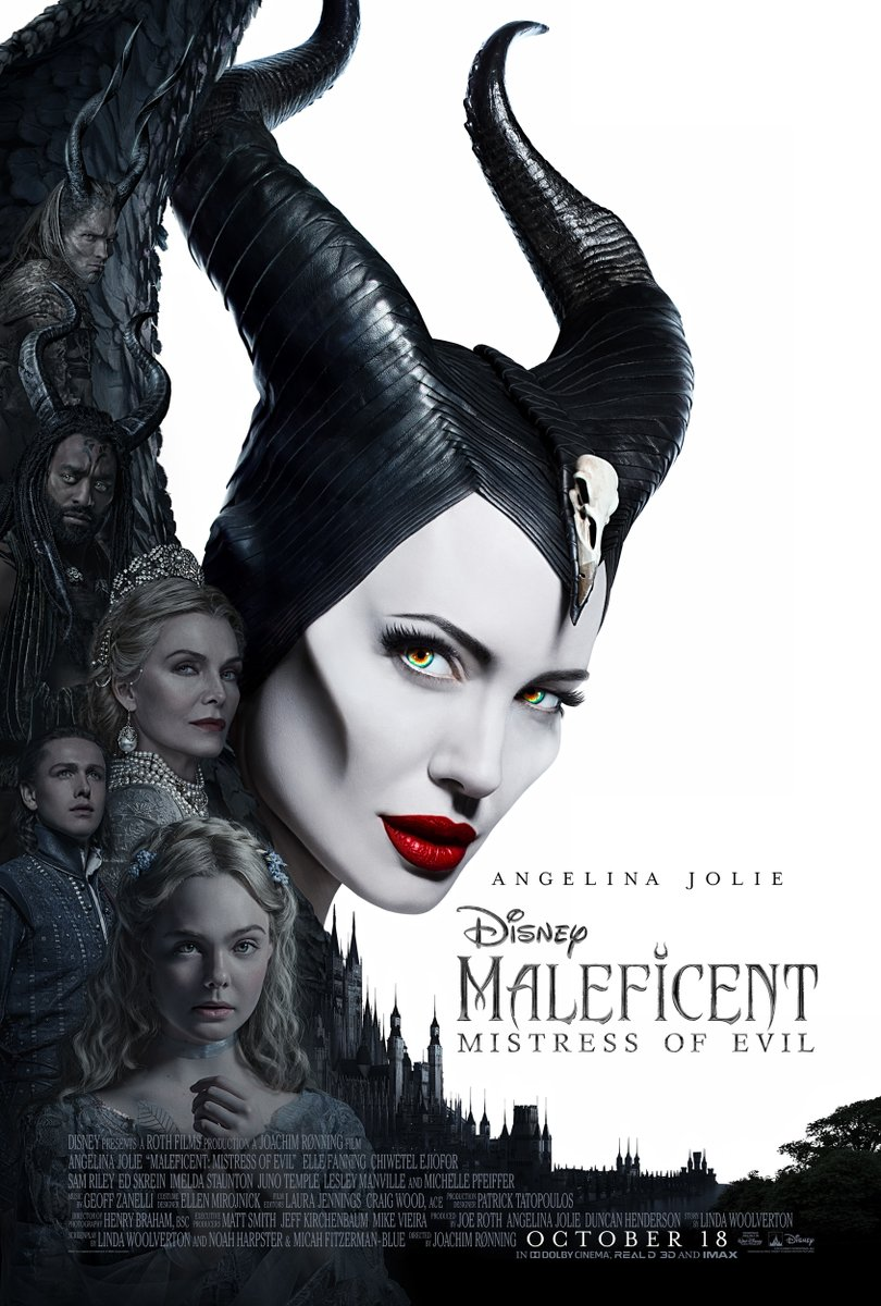 Michelle Pfeiffer, Angelina Jolie, Chiwetel Ejiofor, Elle Fanning, Ed Skrein, and Harris Dickinson in Maleficent: Mistress of Evil (2019)