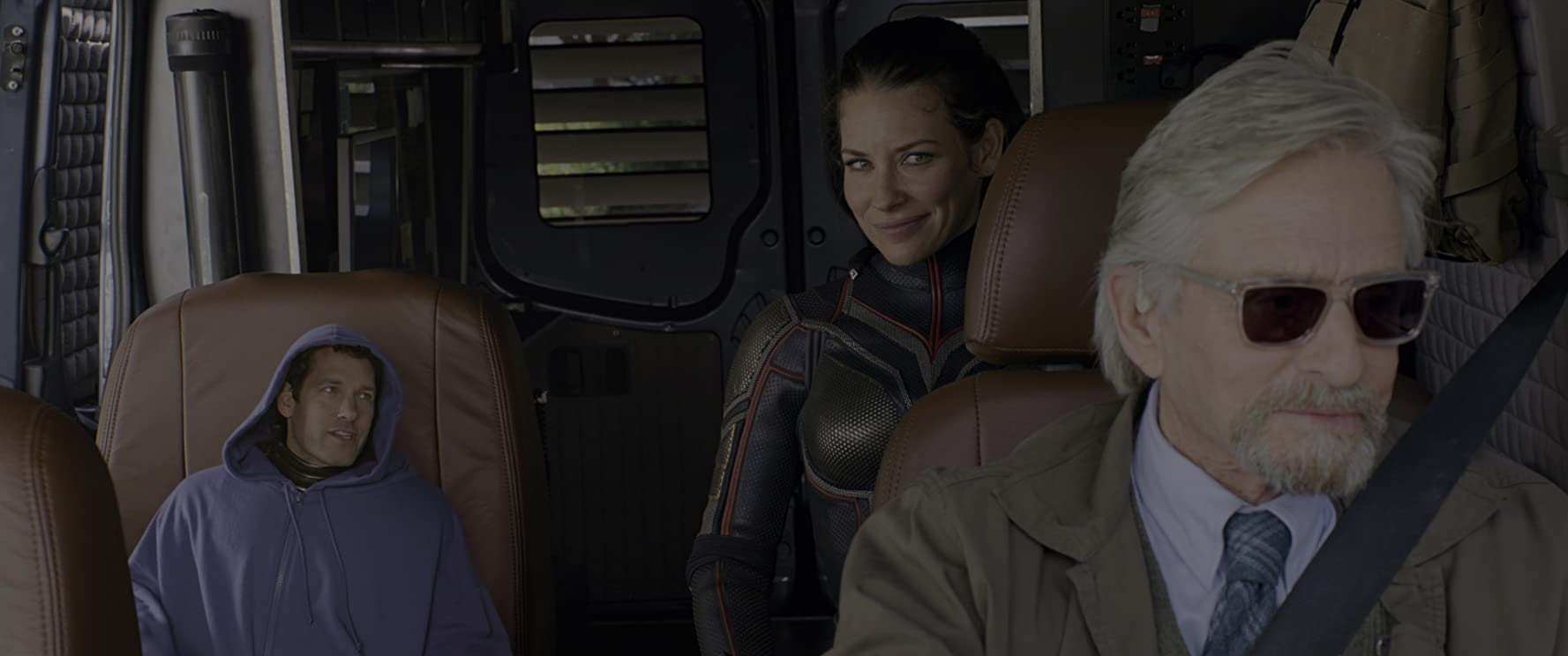 Michael Douglas, Paul Rudd, and Evangeline Lilly in Ant-Man and the Wasp (2018)