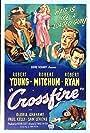 Robert Mitchum, Robert Young, Gloria Grahame, Sam Levene, and Robert Ryan in Crossfire (1947)