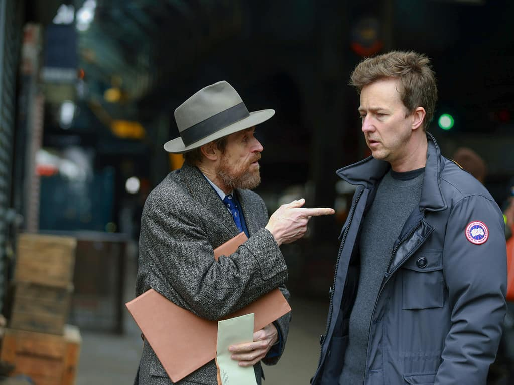 Willem Dafoe and Edward Norton in Motherless Brooklyn (2019)