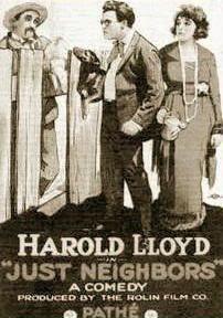 Bebe Daniels, Harold Lloyd, and 'Snub' Pollard in Just Neighbors (1919)