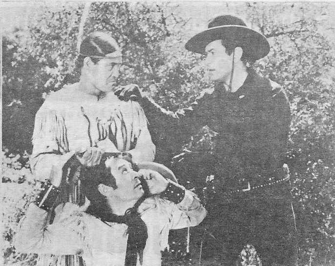 Johnny Mack Brown, Charles Stevens, and Chief Thundercloud in Flaming Frontiers (1938)
