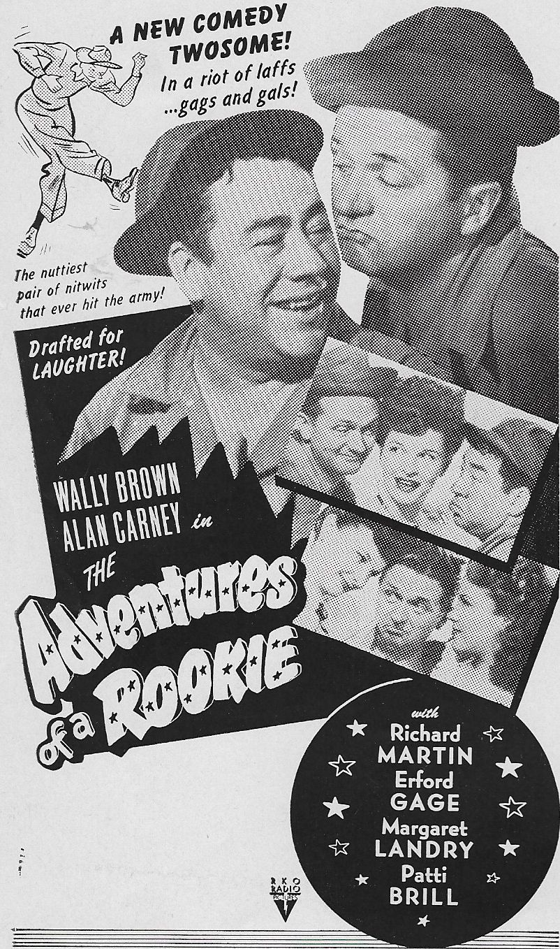 Patti Brill, Wally Brown, Alan Carney, Rita Corday, and Margaret Landry in The Adventures of a Rookie (1943)