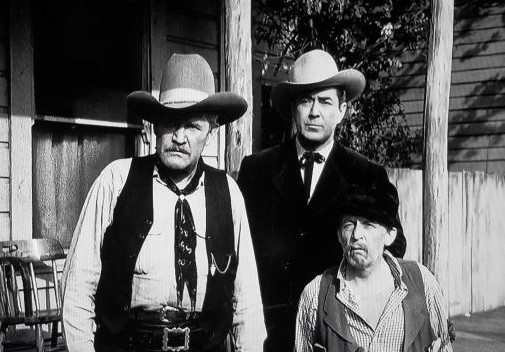 Johnny Mack Brown, Raymond Hatton, and Jack Rockwell in Flame of the West (1945)