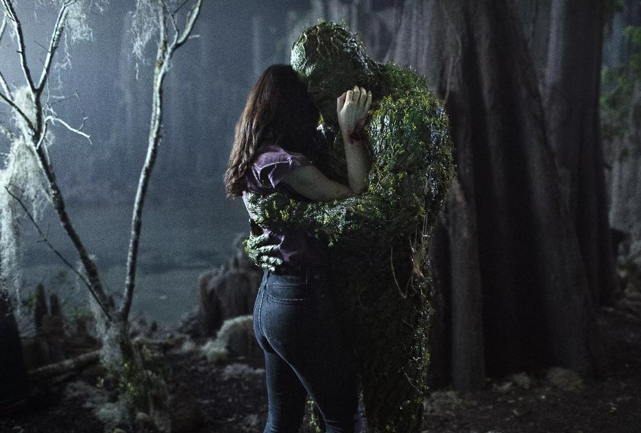 Derek Mears and Crystal Reed in Swamp Thing (2019)