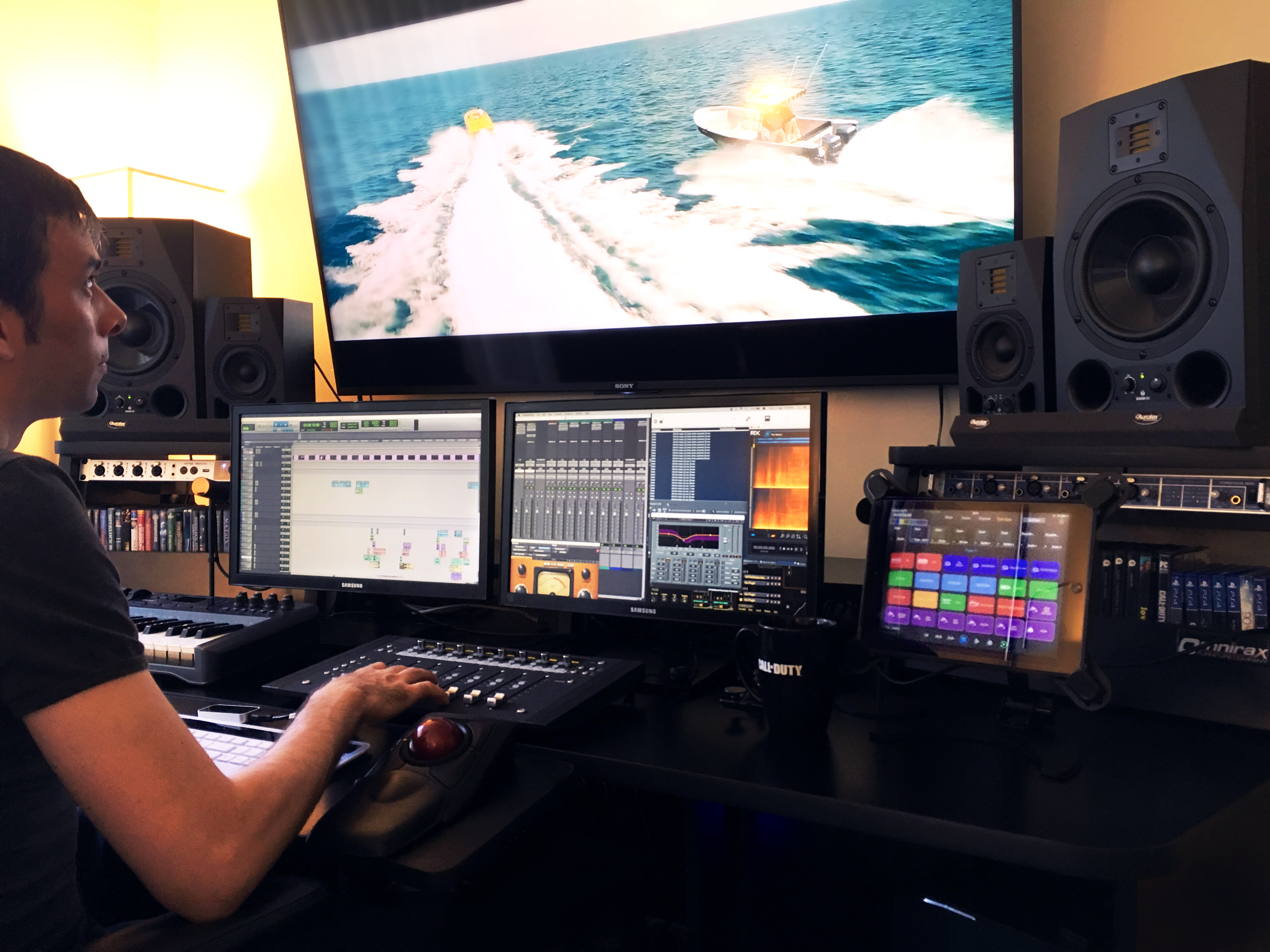 "Daniele Carli working on the feature film ""Extortion"" as a sound designer."
