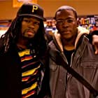 """Cedric Sanders and 50 cent on set for """"Things Fall Apart"""""""