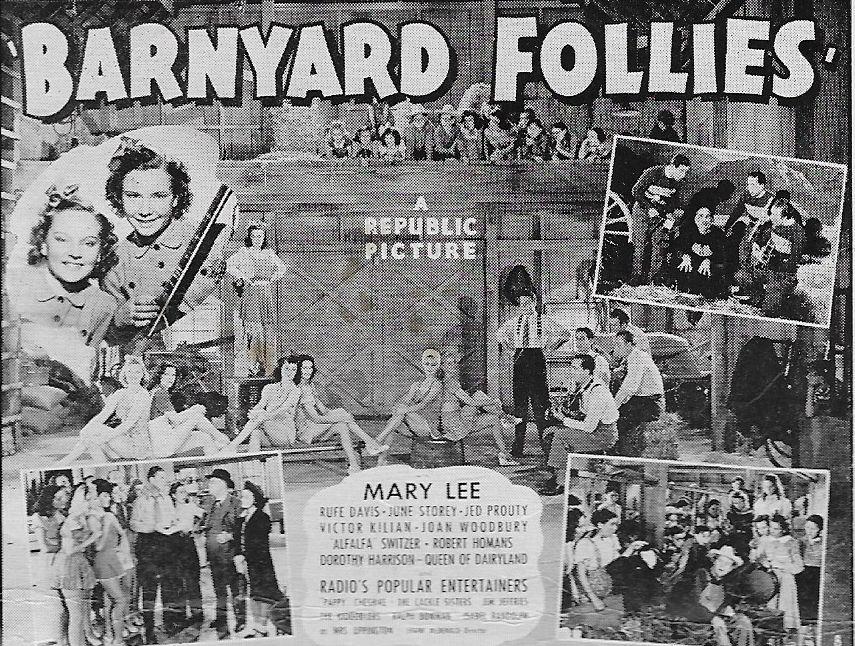 Harry Cheshire, Rufe Davis, Carolyn De Zurik, Mary Lee, Eddie Lewis, Bill Kearnes, Bob Remington, The Kidoodlers, Mary Jane De Zurik, and Paul Cordner in Barnyard Follies (1940)