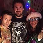 "Charles Chudabala, Aaron Mento, and Felissa Rose on the set of ""Ugly Sweater Party"""