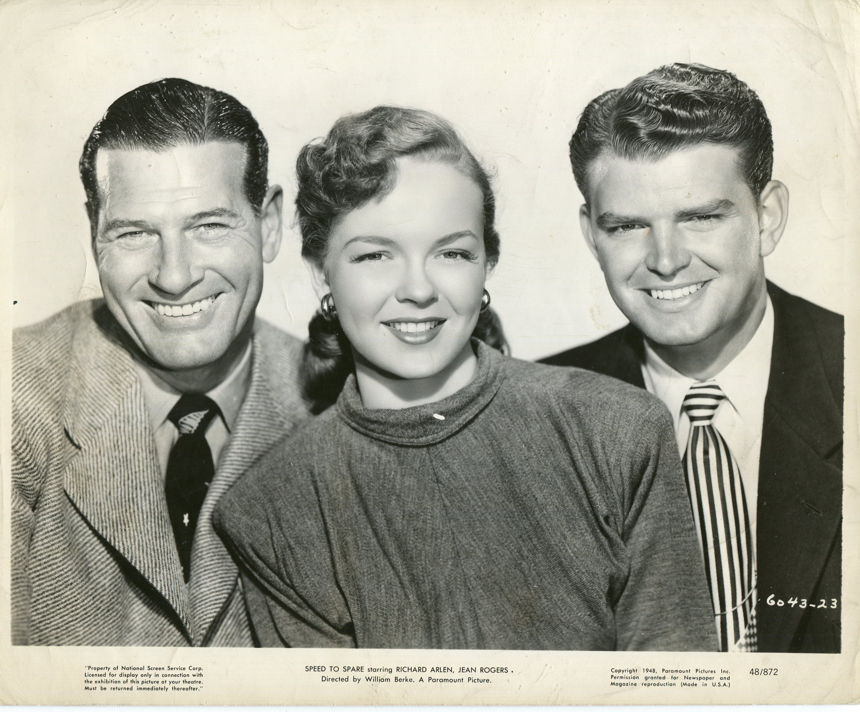 Richard Arlen, Nanette Parks, and Pat Phelan in Speed to Spare (1948)