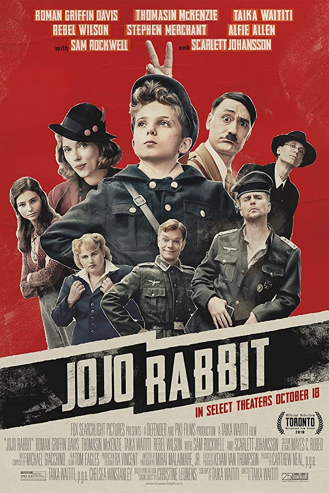 Sam Rockwell, Taika Waititi, Scarlett Johansson, Stephen Merchant, Alfie Allen, Rebel Wilson, Thomasin McKenzie, and Roman Griffin Davis in Jojo Rabbit (2019)