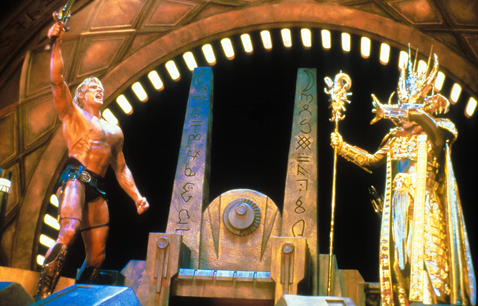 Dolph Lundgren and Frank Langella in Masters of the Universe (1987)