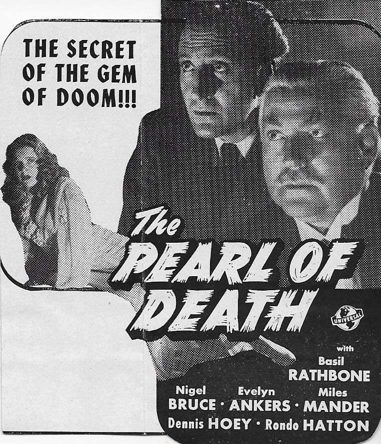 Basil Rathbone, Evelyn Ankers, and Nigel Bruce in The Pearl of Death (1944)