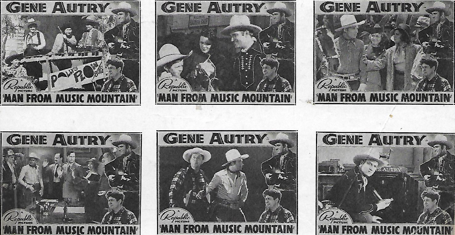 Gene Autry, Smiley Burnette, Carol Hughes, Ivan Miller, Sally Payne, Polly Jenkins, and Al Terry in Man from Music Mountain (1938)