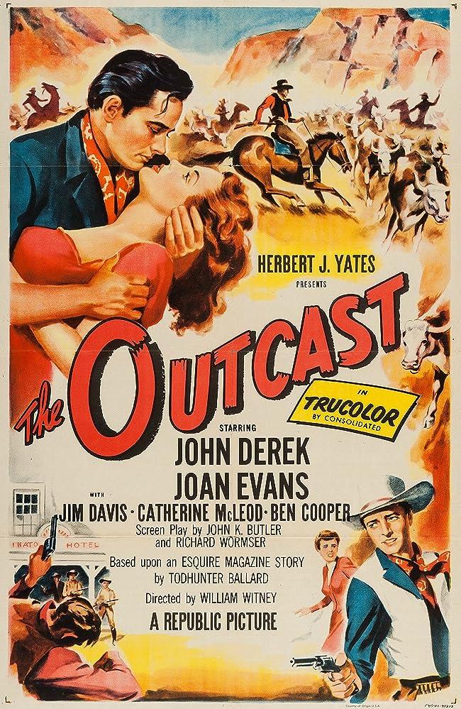 John Derek, Ben Cooper, and Joan Evans in The Outcast (1954)