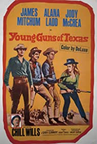 Gary Conway, Alana Ladd, Jody McCrea, James Mitchum, and Chill Wills in Young Guns of Texas (1962)