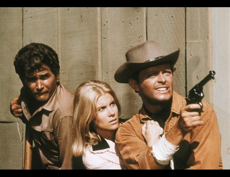 Michael Landon, Michael Blodgett, and Davey Davison in Bonanza (1959)