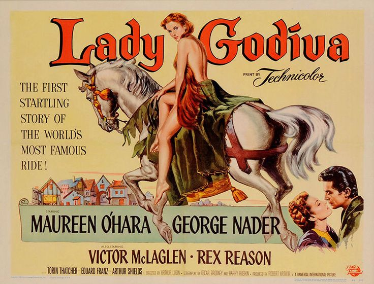 Maureen O'Hara and George Nader in Lady Godiva of Coventry (1955)