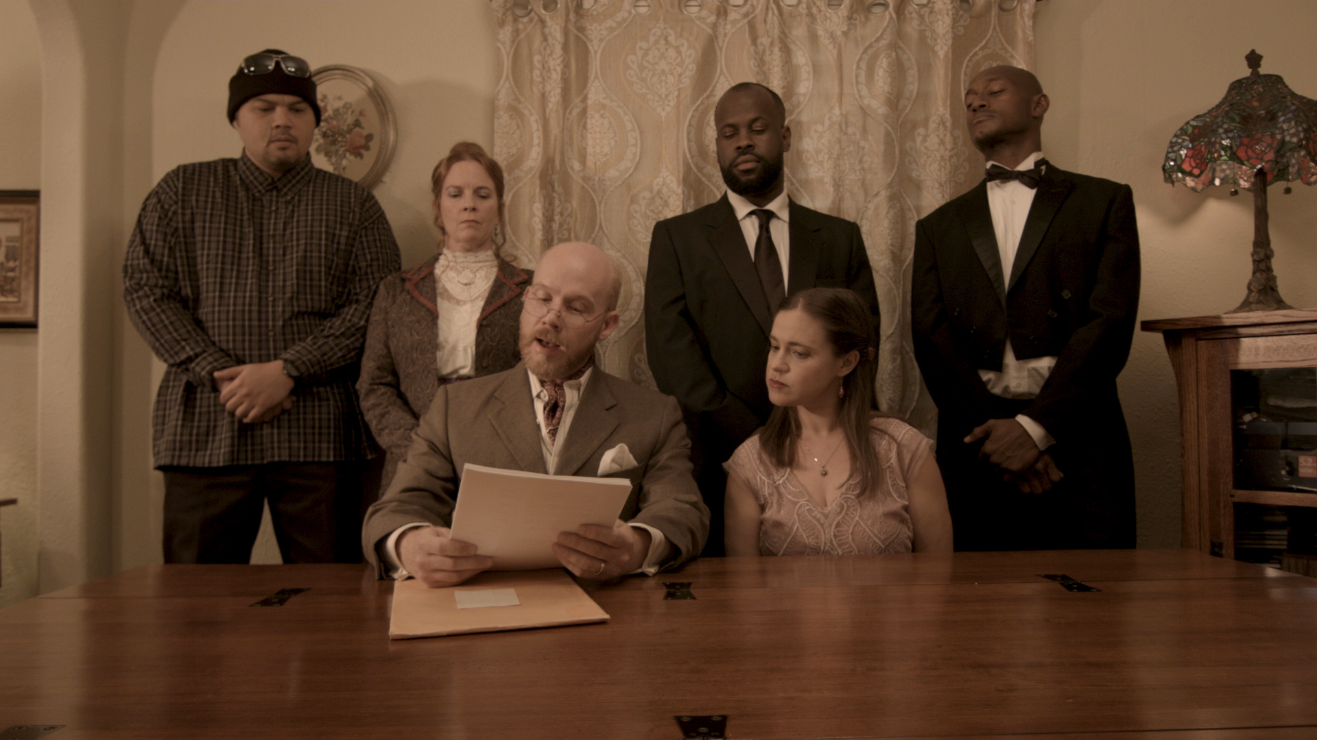 Kevin Gardner, David Tate, Jen McAllister, Luka Bayani, RonNell L. Weaver, and Anne Letscher in Compton Abbey (2018)