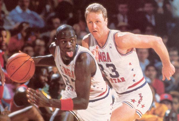 Michael Jordan and Larry Bird in 1988 NBA All-Star Game (1988)