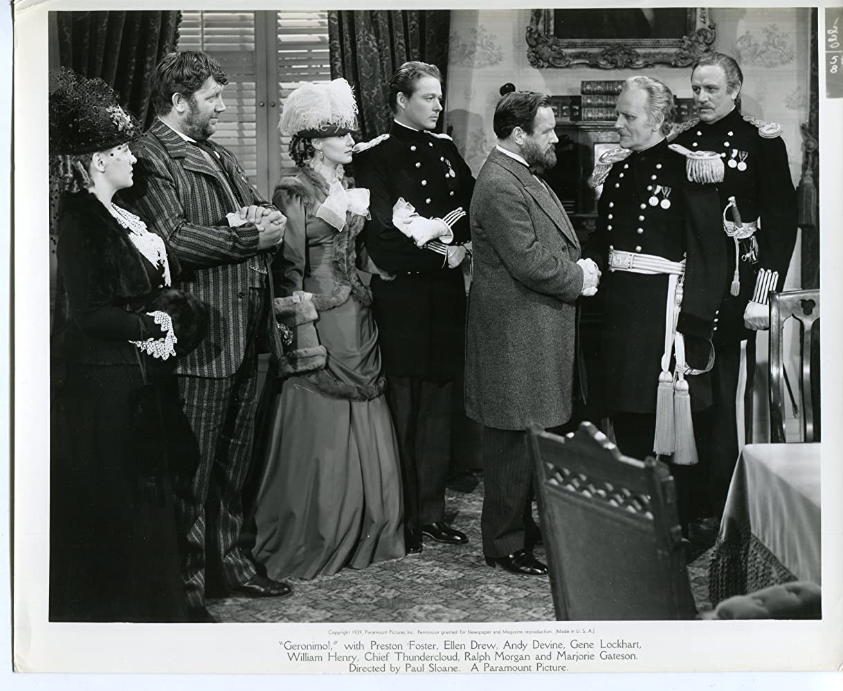 Joseph Crehan, Andy Devine, Ellen Drew, William Henry, Kitty Kelly, Ralph Morgan, and Pierre Watkin in Geronimo (1939)