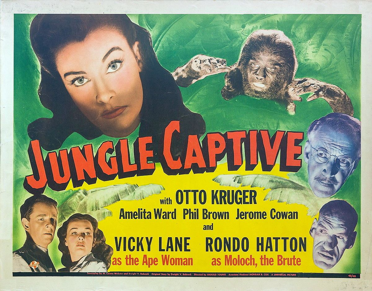 Phil Brown, Rondo Hatton, Otto Kruger, Vicky Lane, and Amelita Ward in The Jungle Captive (1945)