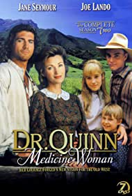 Jane Seymour, Chad Allen, Joe Lando, and Shawn Toovey in Dr. Quinn, Medicine Woman (1993)