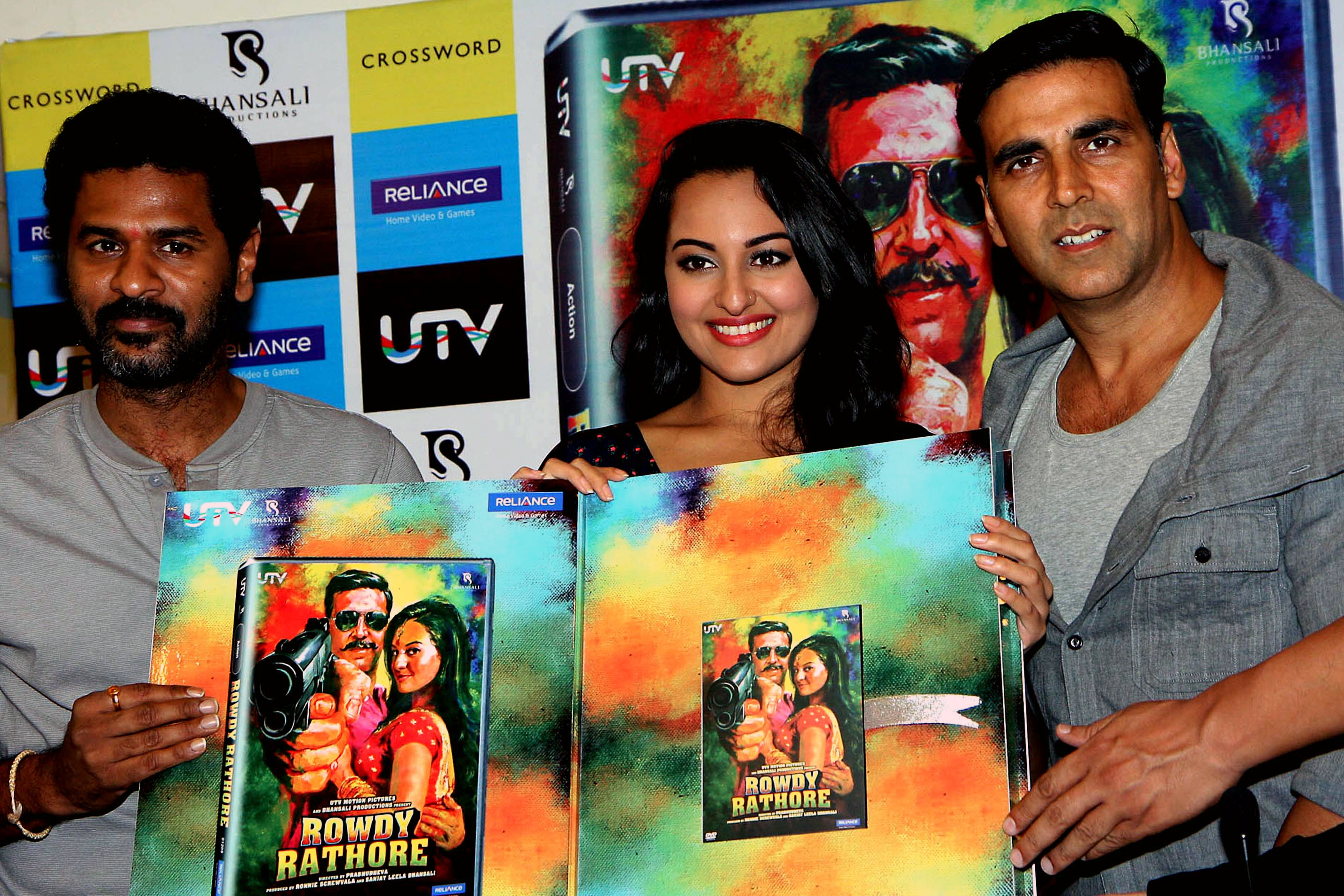 Prabhu Deva, Akshay Kumar, and Sonakshi Sinha at an event for Rowdy Rathore (2012)