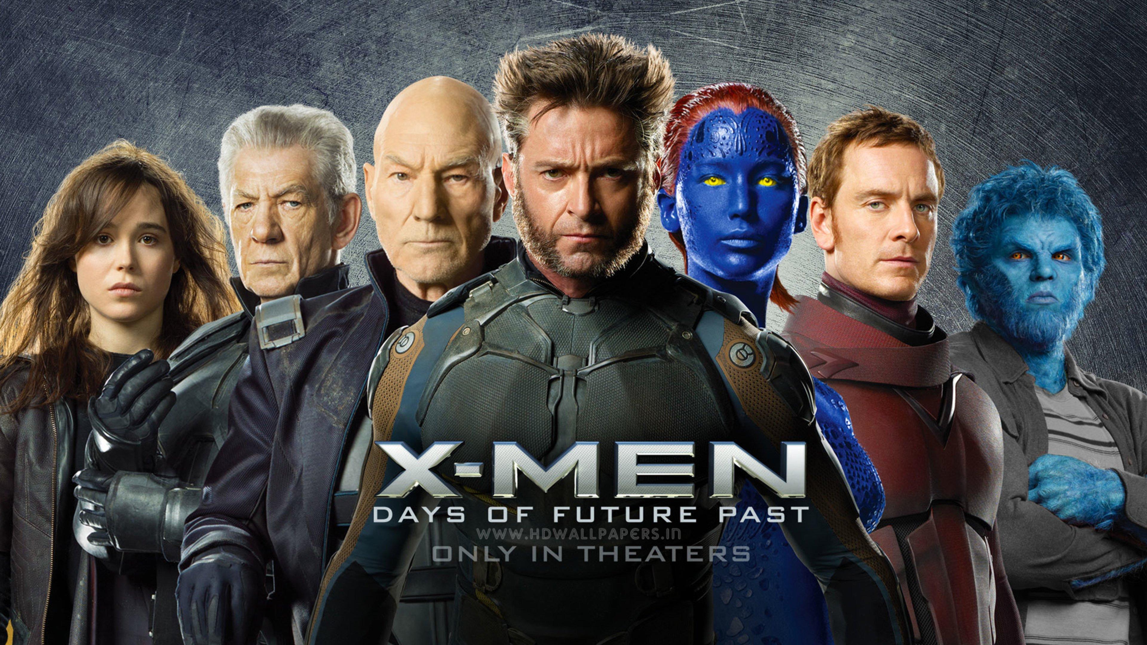 Patrick Stewart, Ian McKellen, Nicholas Hoult, Hugh Jackman, Elliot Page, Michael Fassbender, and Jennifer Lawrence in X-Men: Days of Future Past (2014)