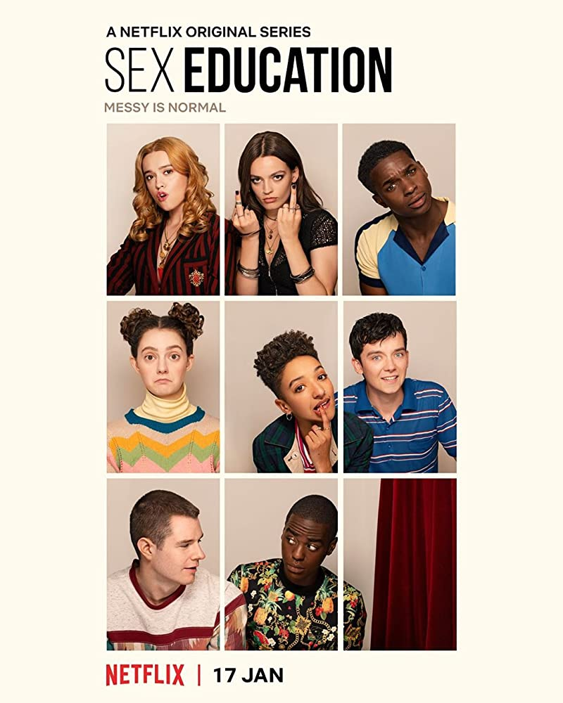 Patricia Allison, Aimee Lou Wood, Asa Butterfield, Kedar Williams-Stirling, Ncuti Gatwa, Tanya Reynolds, Emma Mackey, and Connor Swindells in Sex Education (2019)