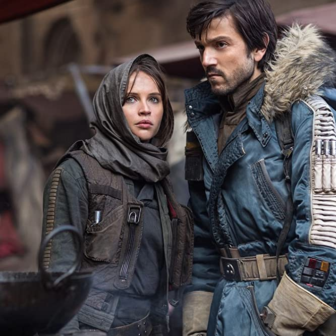 Felicity Jones and Diego Luna in Rogue One: A Star Wars Story (2016)