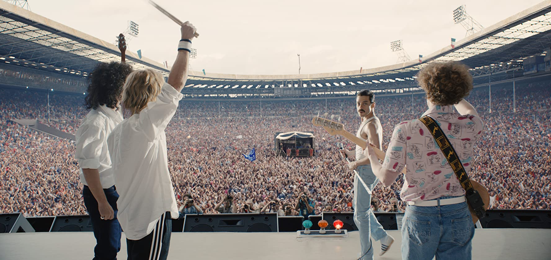 Joseph Mazzello, Rami Malek, Gwilym Lee, and Ben Hardy in Bohemian Rhapsody (2018)