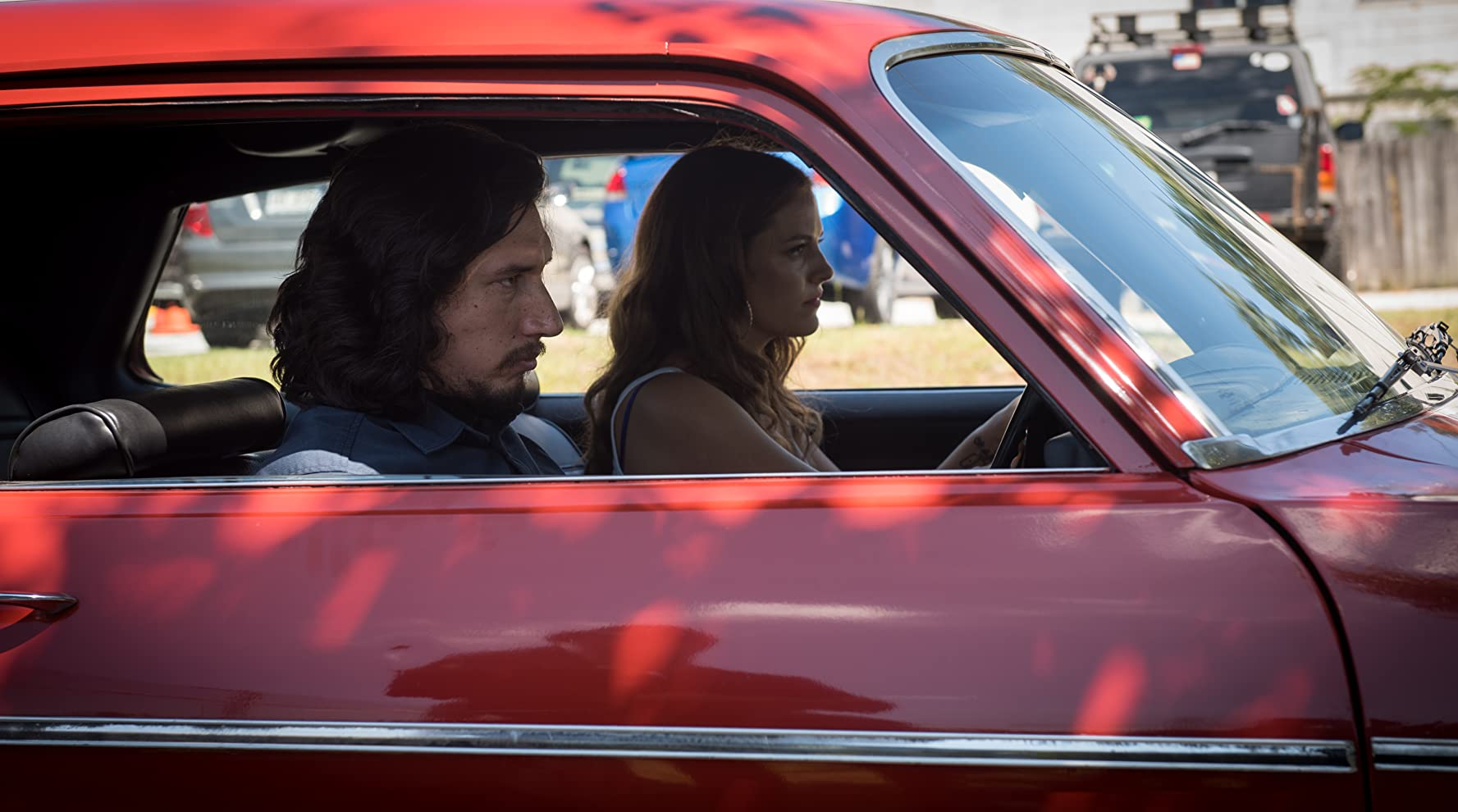 Riley Keough and Adam Driver in Logan Lucky (2017)