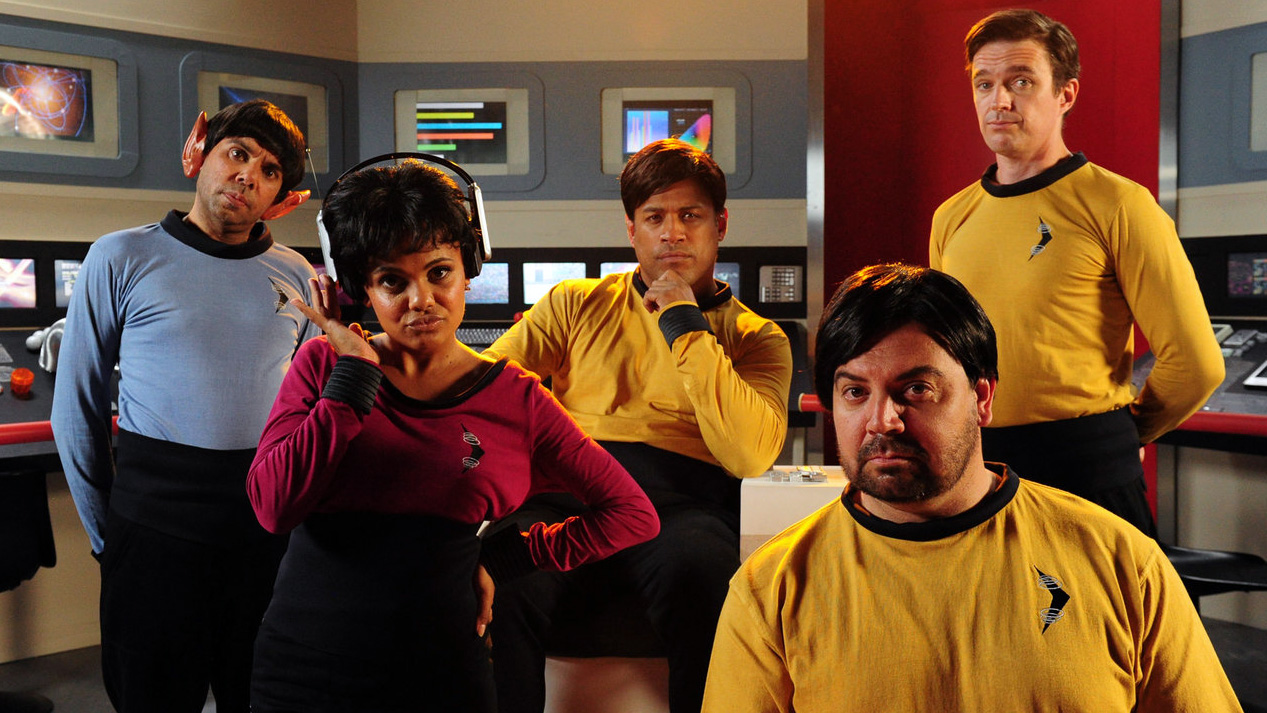 Matt Day, Aaron Fa'aoso, Jon Bell, Miranda Tapsell, and Steven Oliver in Black Comedy (2014)