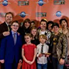 Producers Roger Lay Jr & Eric Carnagey with cast members at world premiere for Universal's Aliens Ate My Homework.