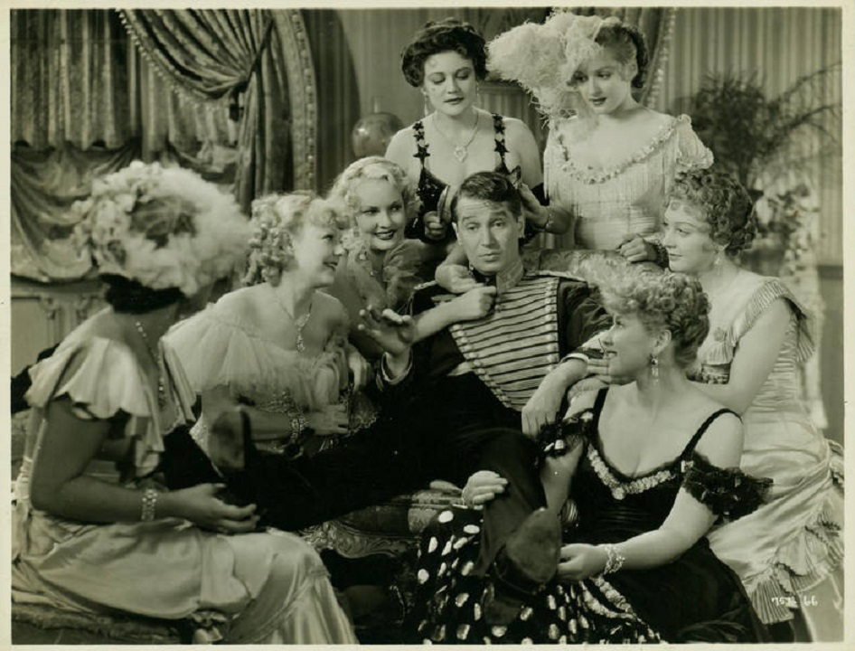Maurice Chevalier, Lona Andre, Zita Baca, Barbara Barondess, Sheila Bromley, Shirley Chambers, and Minna Gombell in The Merry Widow (1934)