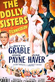 Betty Grable, Reginald Gardiner, June Haver, Frank Latimore, John Payne, and S.Z. Sakall in The Dolly Sisters (1945)