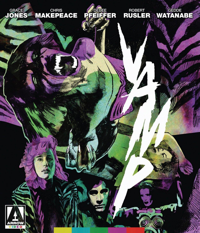 Grace Jones, Sandy Baron, Billy Drago, Chris Makepeace, Dedee Pfeiffer, Robert Rusler, and Gedde Watanabe in Vamp (1986)