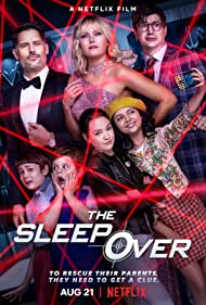 Malin Akerman, Joe Manganiello, Ken Marino, Lucas Jaye, Maxwell Simkins, Cree Cicchino, and Sadie Stanley in The Sleepover (2020)