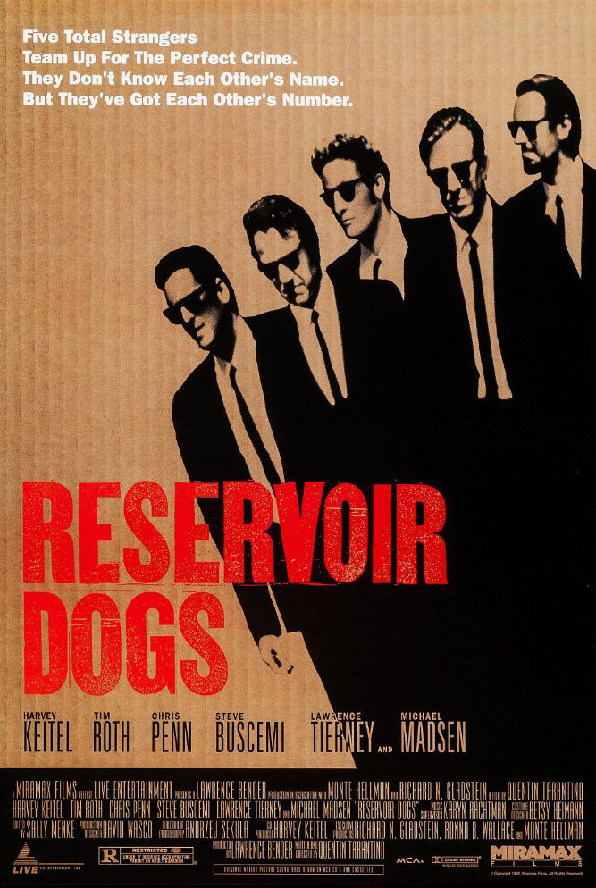 Steve Buscemi, Harvey Keitel, Michael Madsen, Tim Roth, and Chris Penn in Reservoir Dogs (1992)
