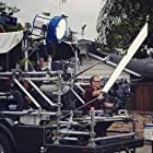 """Chris von Hoffman and Tobias Deml framing up on the process trailer on the set of """"Monster Party"""""""