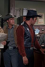 Gary Clarke, James Drury, Doug McClure, and Pippa Scott in The Virginian (1962)